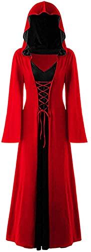 Disfraz De Vampiro De Halloween De Cosplay para Mujer,Vestido De Bruja Vintage De Talla Grande,Disfraz Renacentista para Mujer,Vestido Medieval (Color : Red, Size : 4XL)