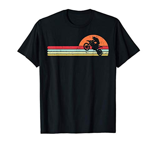 Dirt Bike Motocross Sunset Retro Track Racing Riding Gift Camiseta