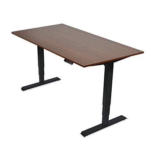 Ergotopia® Elektrisch höhenverstellbarer Schreibtisch | 5 Jahre Garantie | Ergonomischer Steh-Sitz Tisch mit Memory Funktion | Beugt Rückenschmerzen vor & Macht produktiver (120x80, Nussbaum, S)