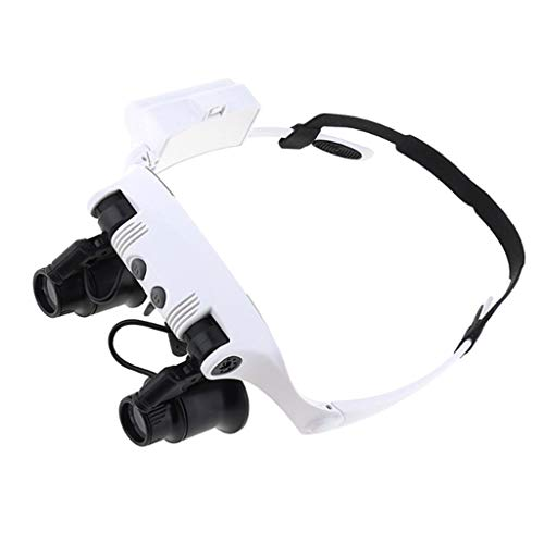 Head Mount Magnifier,Lighted Magnifying Headband Glass Loupe Visor Four Multiple Repair Inspection Glasses with Light for Reading, Jewelry Loupe, Watch, Electronic Repair White