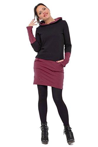 3Elfen Kapuzen Winter Jersey Kleid Hoodie Damen Mädchen Mini Rock Stulpen Daumenloch schwarz Bordeaux S
