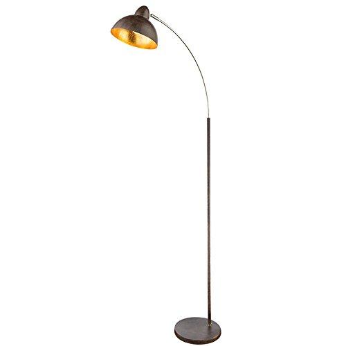Bogen Lampe Blattgold Design Wohn Arbeits Zimmer Beleuchtung Steh Leuchte rost Globo 24703SR