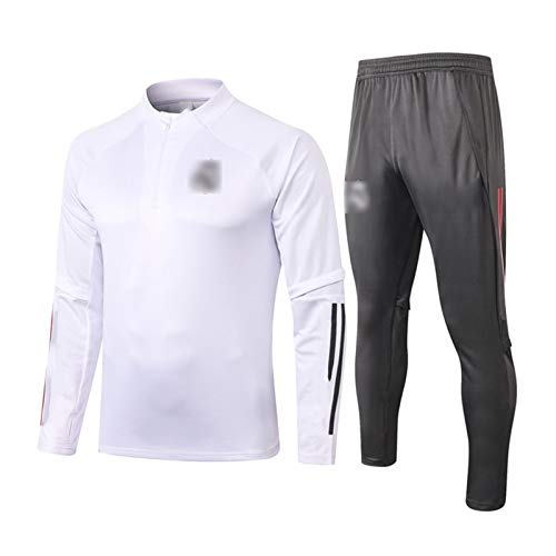 2021 Real Mǎdrǐd Fußballtraining Trikot, Trainingsanzüge High Neck Langarm Sweatshirt Set Fußball Wettkampf Training Kleidung Herren Jacke + Hose 2-teiliges Set White-XL