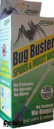 Bug Buster, Spider Catcher with battery. Vacs up spiders & insects. Humane spider, wasp, moth, insect catcher. Latest version including FREE battery, turbo nozzle & 24' extension.