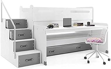 Interbeds Lit Enfant Max 1 avec Bureau et 3 couchages 200x80, 190x80, 180x80 avec 3 Matelas, sommiers et tiroir-lit (Blanc+Gr