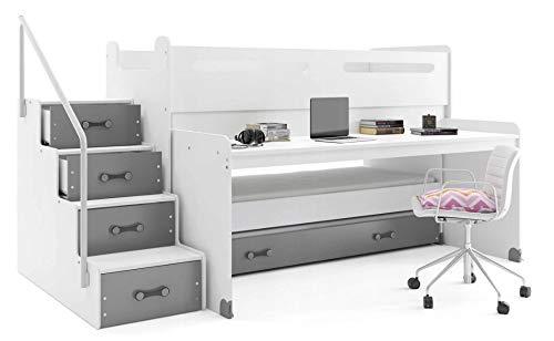 Interbeds Lit Enfant Max 1 avec Bureau et 3 couchages 200x80, 190x80, 180x80 avec 3 Matelas, sommiers et tiroir-lit (Blanc+Gris)
