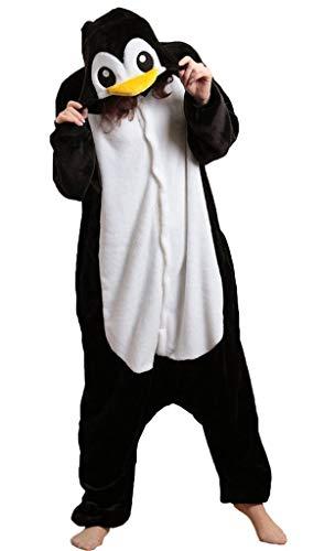 LATH.PIN Jumpsuit Tier Karton Fasching Halloween Kostüm Sleepsuit Cosplay Fleece-Overall Pyjama Schlafanzug Tierkostüme, L, Pinguin