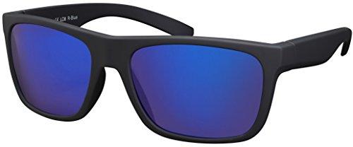 La Optica B.L.M. Herren Sonnenbrille UV400 Männer Sportbrille Fahrradbrille - Gummiert Schwarz (Gläser: Blau Verspiegelt)