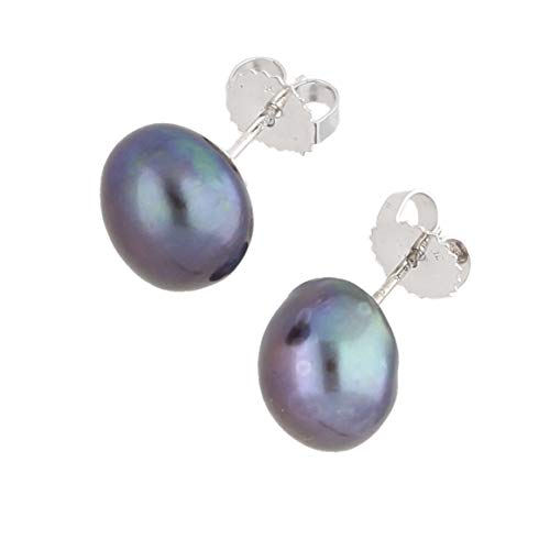 Women's Sterling Silver Black Pearl Stud Earrings (10x9mm) | The Perfect Gift For A Special Lady | Jollys Jewellers