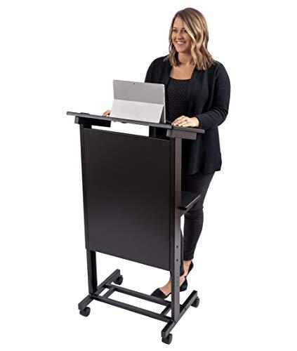 Stand Up Desk Store Mobile Adjustable Height Lectern Podium, Heavy Duty Steel Frame (Black Frame/Black Shelves)