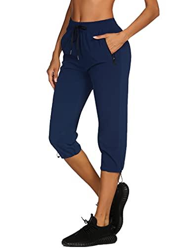 COOrun Women's Stretch Hiking Capri Pant Elastic Waist Workout Cropped Pant, Navy Blue Medium