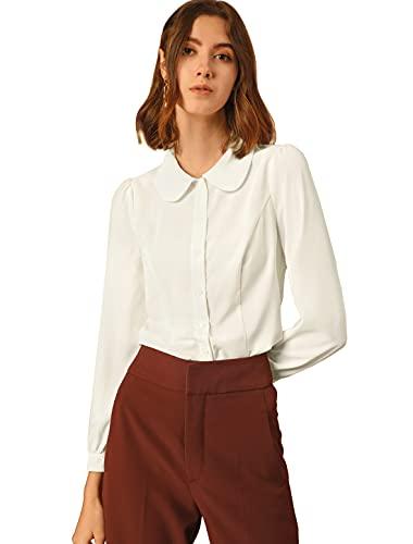 Allegra K Blusa Peter Pan Collar Botones Abajo Camisa Cuello Lazo-Auto Top De Oficina Trabajo para Mujer Blanco XL