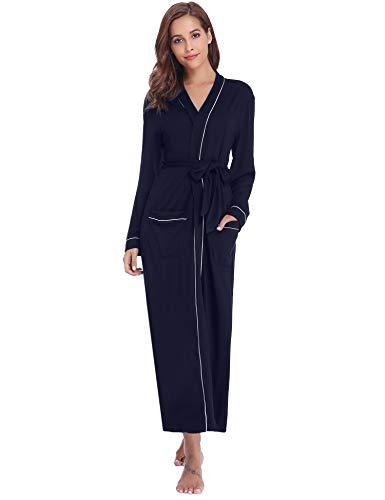Aibrou Damen Baumwolle Bademantel Leicht Mantel Morgenmantel V Kragen Saunamantel Blau XL