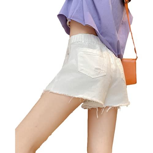 Pantalones Cortos para Mujer Primavera y Verano Pantalones Cortos de Mezclilla de Moda de Cintura Alta Pantalones Cortos de Mezclilla con Flecos de Moda Pantalones de Cinco Puntos Rasgados con XL