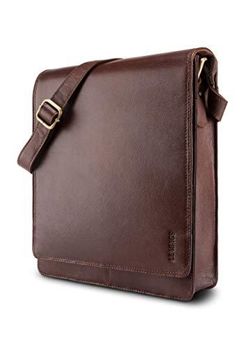 LEABAGS London Leder-Umhängetasche I Laptoptasche bis 13 Zoll I Messenger Bag aus echtem Büffel-Leder im Vintage Look I Schultertasche I Arbeitstasche I 26x8x31cm (Burgundy)