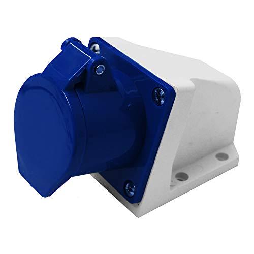 Electraline 80868 Presa Elettrica Industriale da Parete Inclinata, 32A, 2P+T, 220V, Blu
