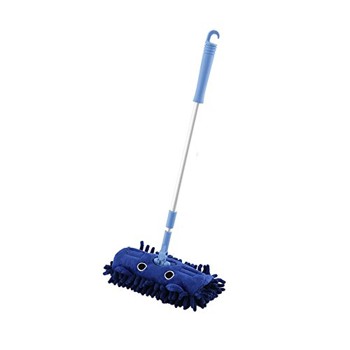 Metermall Home Kids Rekbare vloerreinigingsgereedschap Mop Bezem Stoffer Blik Speelhuis Speelgoed Cadeau Blauwe dweil