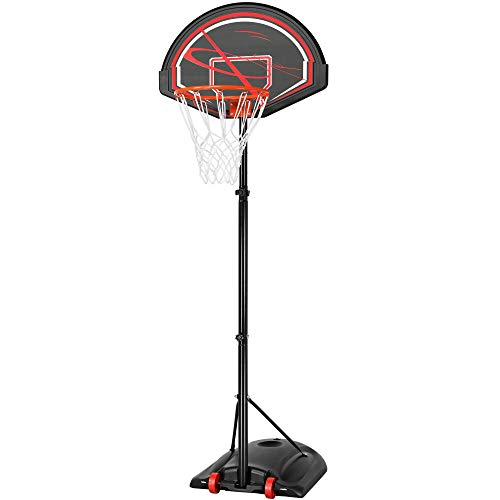 Topeakmart Portable 7-9ft Basketball Hoop Stand System for Youth Kids Teenagers 5.6-7.5ft Adjustable Height Between Rim and Ground,Sturdy Base with Wheel