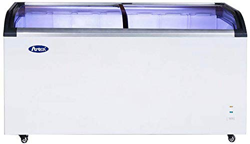Commercial Angle Curved Top Chest Freezer Glass Top, Deep Ice Cream Freezer with 4 Wire Baskets, Adjustable Thermostat, Locking Coasters, 12.5 Cubic Feet, White