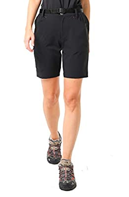 MIER Women's Stretchy Hiking Shorts Lightweight Quick Dry Cargo Shorts with 5 Pockets for Outdoor, Water Resistant, 12, Black