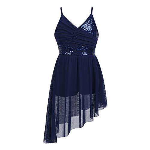inlzdz Kids Girls Sequins V-Neck Lyrical Dance Dress Irregular High-Low Skirt Ballet Latin Performing Costume Navy Blue 10-12