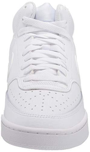 Nike Court Vision Mid, Sneaker Mujer, White/White-White, 41 EU