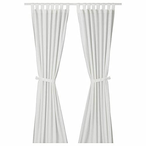 """Ikea Cortinas con alzapaños, 1 par, blanco blanqueado 55x98"""", 1426.5529.1618"""