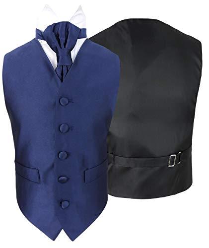 Vianni Jungen Einfarbige Hochzeitswesten Set aus Satin mit Verstellbarer Krawatte Marine Blau Alter 6-7