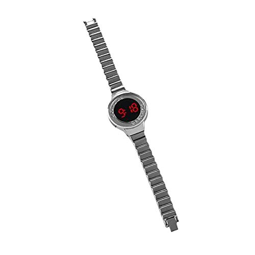 Beifeng Reloj digital redondo de aleación de diseño simple reloj con decoración de diamantes de imitación luminosa pantalla LED regalo para niñas mujeres