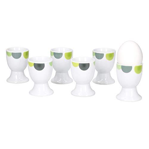 Van Well | 6er Set Eierbecher Rondo rund | Becher Ø 5 cm | hoher Eier-Ständer | Egg Cup | abstrakte Retro-Kreise grün-gelb | edles Porzellan-Geschirr