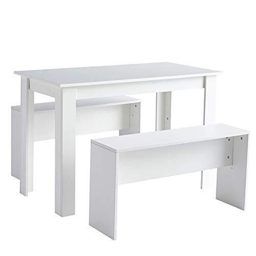 Table Set 2 Benches Small Kitchen Dining Room Furniture Modern Style Wood 3 Piece Dining Table Set for Small Spaces (White)