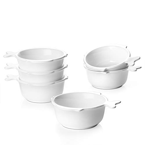 DOWAN 8 oz Ramekin Bowls with Handle, Cute Souffle Dishes for Baking, Oven Safe Ramekin Dish with Fish-shaped Tail Handle for Lava Cake Dessert, Custard, Pudding and Ice Cream Set of 6, White