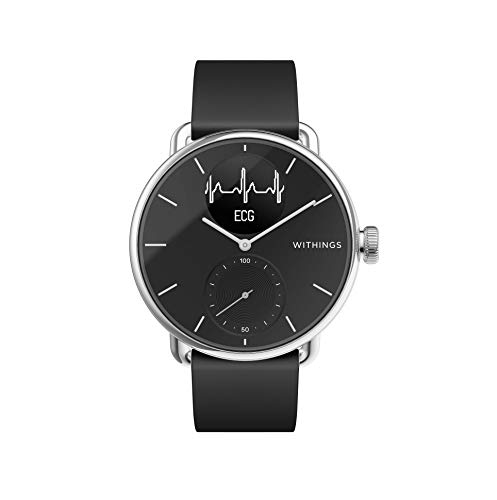 Withings ScanWatch - Reloj inteligente híbrido con ECG, tensiómetro y oxímetro, 38 mm, color Negro