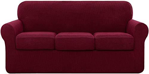 Funda de sofá universal con 2 fundas de cojín independientes, protector de muebles antideslizante de repuesto de funda de sofá de poliéster elastizado elástico (gris claro, 3 plazas (185-235 cm))