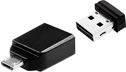 Verbatim Nano USB-Stick 2.0 Drive - 32 GB - mit Micro B-Adapter - Für Tablets und Smartphones mit dem USB OTG (On-The-Go)-Feature, Schwarz, 49822