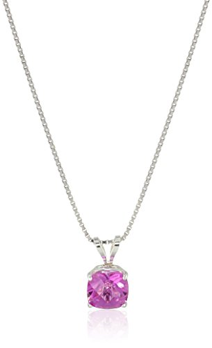 Sterling Silver Cushion-Cut Checkerboard Created Pink Sapphire Pendant Necklace (6mm)