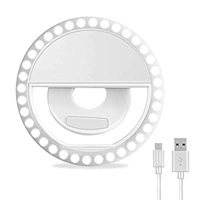 Selfie Ring Light, XINBAOHONG Rechargeable Portable Clip-on Selfie Fill Light with 36 LED for iPhone/Android Smart Phone Photography, Camera Video, Girl Makes up (White) by XINBAOHONG