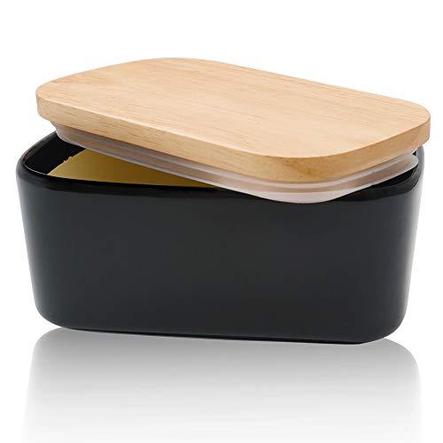 Panda Grip Butterdose Porzellan, Butterdose Keramik für 250g Butter mit Buttermesser Holzdeckel mit Silikon-Dichtlippe Hochwertig Butterdosen Butter Dish Box Schwarz
