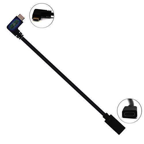 AWADUO, cavo di prolunga da USB C maschio a femmina a 90 gradi, per computer portatile, tablet e cellulare, supporta la ricarica/dati/audio/video, lunghezza 30 cm