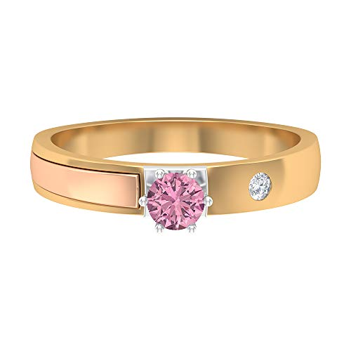 Piedra de nacimiento de octubre - 4,00 mm solitario anillo de turmalina rosa, anillo de diamante HI-SI, anillo de boda de 3 tonos, simple banda de oro (calidad AAA), 14K Oro amarillo, Size:EU 48