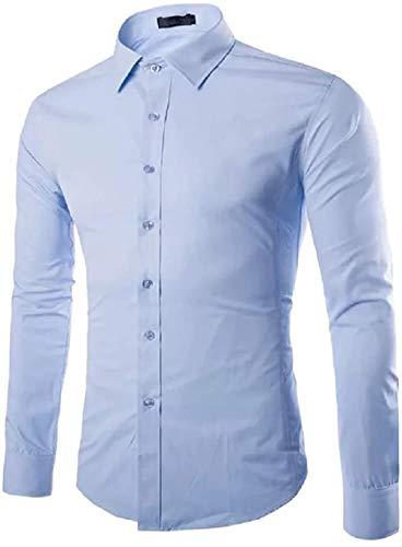 Gdtime Homme Chemise Manches Longues Slim Fit Uni sans Repassage Chemises Casual Classique Business Taille Plus Petite (Basebleu, XL=L(EU))
