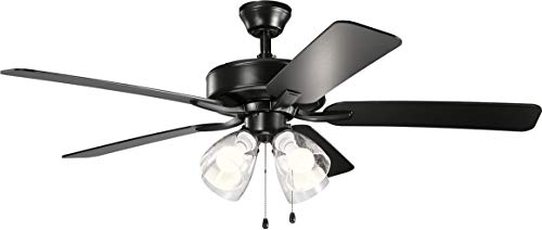 Kichler 330016SBKS Basics Pro Premier 52'' Ceiling Fan with LED Lights, Satin Black
