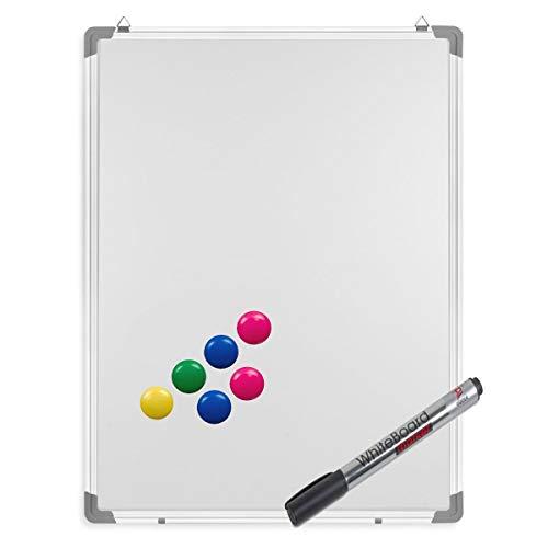 Whiteboard inkl. Marker und Magnete - Magnettafel mit Alurahmen und Stiftablage, magnetisch 60 x 80 cm