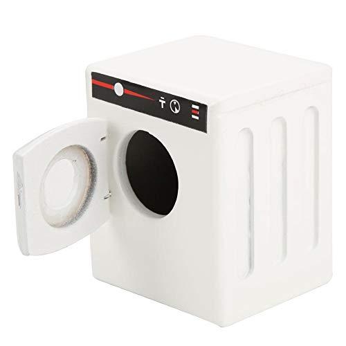 Zerodis Mini Puppenhaus Waschmaschine 1:12 Puppenhaus Holz Waschmaschine Modell DIY Puppenhaus Möbel Zubehör für Puppen(Weiß)