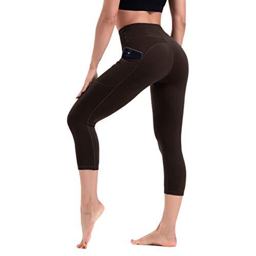 HLTPRO Capri Yoga High Waist 3/4 Leggings Damen mit Handytaschen - Sporthose mit Bauchkontrolle, Braun, L
