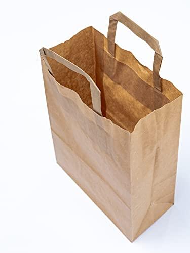 Papiertragetaschen in braun klein 22 x 10 x 28 cm I Papiertüten Geschenktüten I braune Papier Tüten