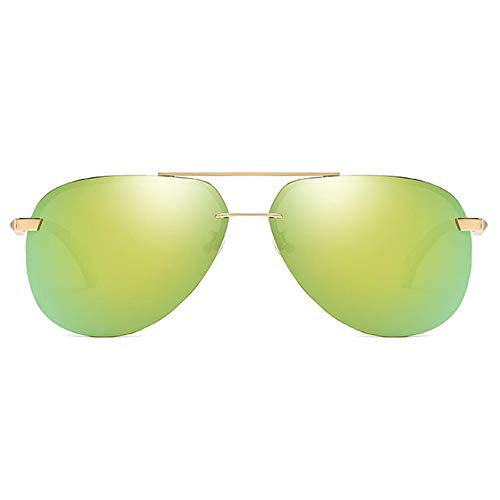 TYXL Sunglasses Nuevas Gafas De Sol Retro Polarizadas De Material Metálico UV400 con Lentes Doradas/Naranjas. (Color : Golden)