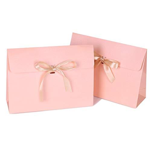 紙袋 ギフトバッグ 角底 袋 封筒パターン ギフト袋 記念日 プレゼントバッグ ラッピング リボン付き 収納袋 マチ付き 大きい 10枚入 業務 包装材 お礼 バレンタイン モダン シンプル 贈り物 お土産 ピンク