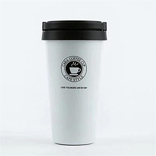 VBHTTaza De Café Aislada Simple Para Hombres Y Mujeres Con Tapa Taza De Acompañamiento Portátil Taza Práctica De Acero Inoxidable blanco 380ml