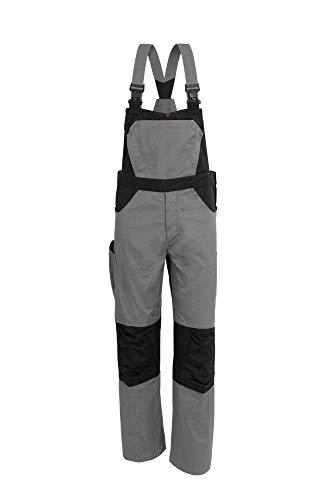 Qualitex X-Serie Unisex Latzhose in grau/schwarz Größe 52, Lange Arbeitshose für Herren und Damen, Cargohose mit vielen Taschen